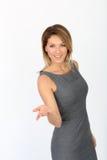 Portrait of businesswoman showing hand Stock Photos