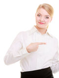 Portrait businesswoman showing pointing at side isolated Royalty Free Stock Image