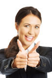 Portrait of businesswoman showing thumbs up Royalty Free Stock Image