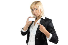 Portrait of businesswoman showing at visit card Stock Photos