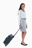Portrait of a businesswoman with a suitcase Royalty Free Stock Photo