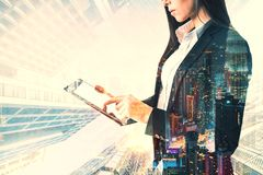 Portrait of businesswoman with tablet stock images