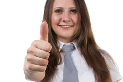 Portrait of businesswoman with thumb up Stock Images