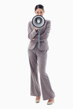 Portrait of a businesswoman using a megaphone Royalty Free Stock Images