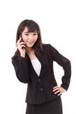 Portrait of businesswoman using or talking via smartphone Stock Photos