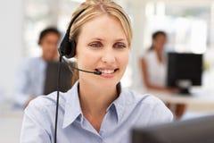 Portrait of businesswoman wearing headset. Portrait of businesswomen talking on headset Stock Image