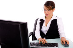 Portrait of businesswoman working on computer Stock Photography