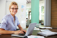 Portrait Of Businesswoman Working In Creative Office Royalty Free Stock Images