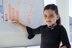Portrait of businesswoman writing on whiteboard Royalty Free Stock Photos