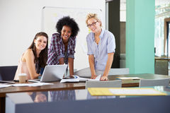 Portrait Of Businesswomen Having Creative Meeting In Office Royalty Free Stock Images