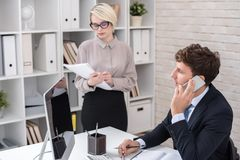 Successful Business Executive Busy Working in Office Stock Image