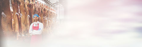 Portrait of butcher standing with arms crossed in meat storage room. At butchers shop Stock Images