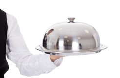 Portrait of a butler with bow tie and tray Royalty Free Stock Photography
