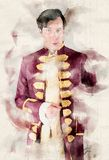 Portrait of a butler in a historic old robe. In watercolors royalty free illustration