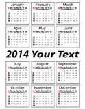 Portrait calendar 2014 illustration. Calendar for 2014 year in format stock illustration