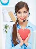 Portrait of call center smiling operator with phone headset iso Stock Photography
