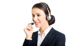 Portrait of call center woman talking to customer Royalty Free Stock Image