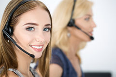 Portrait of call center worker royalty free stock image