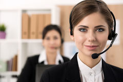 Portrait of call center worker royalty free stock photo