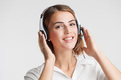 Portrait of call center worker accompanied .Telemarketing operat Stock Photography
