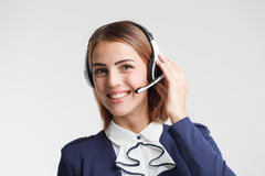 Portrait of call center worker accompanied .Telemarketing operat Royalty Free Stock Images