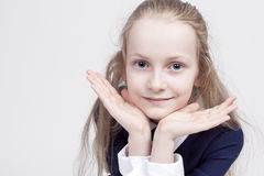 Portrait of Calm and Beautiful Caucasian Female Child Royalty Free Stock Images
