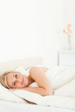 Portrait of a calm woman opening her eyes Stock Photo