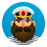 Portrait of captain. Cartoon image. Stock Images