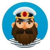 Portrait of captain. Cartoon image. Stock Images