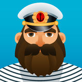 Portrait of captain. Cartoon image. Royalty Free Stock Image