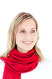 Portrait of a captivating woman with a red scarf Stock Photography