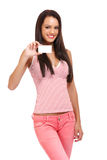 Portrait of a cardholder brunette woman Royalty Free Stock Image