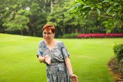 Portrait of carefree adult caucasian redhead woman in dress posing in green summer park royalty free stock photography