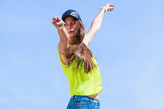 Portrait of carefree teenager girl outdoor. Royalty Free Stock Image