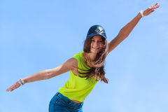 Portrait of carefree teenager girl outdoor. Royalty Free Stock Photography