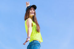Portrait of carefree teenager girl outdoor. Stock Photo