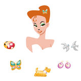 Portrait of a cartoon girl surrounded by jewelry Royalty Free Stock Image