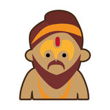Portrait cartoon man sadhu culture india Stock Photo