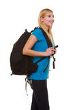 Portrait casual blond smiling girl female student with bag backpack isolated Royalty Free Stock Images