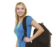 Portrait casual blond smiling girl female student with bag backpack isolated Stock Photo