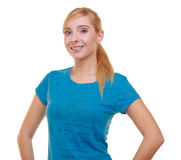 Portrait casual blond smiling girl female student isolated. Education college. stock images
