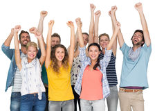 Portrait of casual cheerful people raising hands Royalty Free Stock Photography