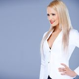 Portrait of casual dressed blond woman Stock Photos