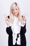 Portrait of casual dressed blond woman posing with arms crossed Royalty Free Stock Photos