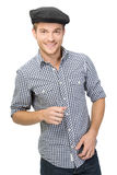 Portrait of casual guy isolated on white. Casual guy smiling isolated on white Royalty Free Stock Images