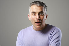 Portrait of casual man surprised Stock Images