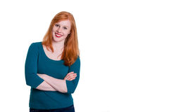 Portrait of casual redhead, arms crossed Stock Photos