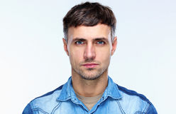 Portrait of a casual serious man royalty free stock images