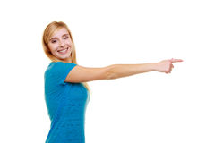Portrait casual smiling girl female student pointing showing Stock Photo