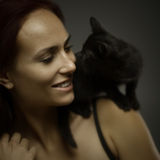 Portrait with cat Stock Photography